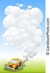A damaged car releasing smoke - Illustration of a damaged ...