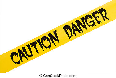 A danger and caution yellow tape isolated on a white background, Danger Warning