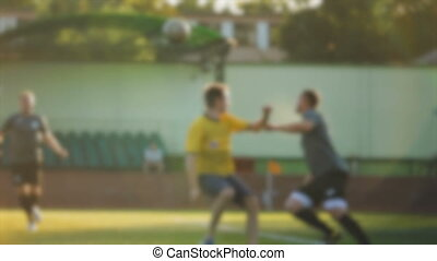 A dangerous kick on the ball, flip pass, soccer championship, amateur football game, fair play