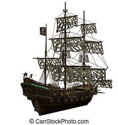 Pirate Ship - a dangerous Pirate Ship - isolated on white