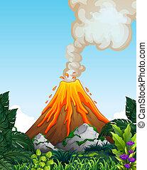 A dangerous volcano eruption illustration
