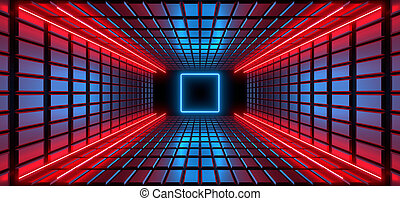 A dark corridor lit by colorful neon lights. Reflections on the floor and walls. 3d rendering image.