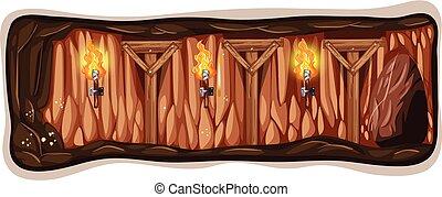 A Dark Mine Cave Template