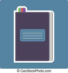 A dark purple writing notebook card