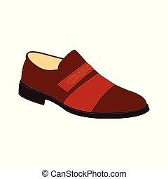 A dark red men's dress shoe on white - dark red men's dress ...