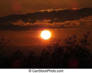 A dark-red sunset