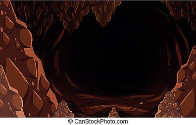 A dark stone cave