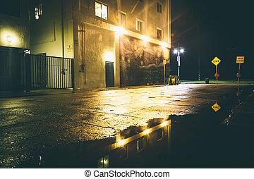 A dark street at night, in Venice Beach, Los Angeles,...