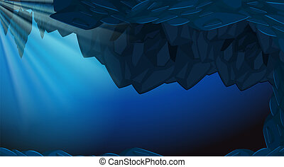 A dark underwater cave backgroubd