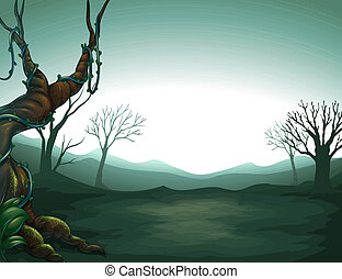 A dark view of the forest - Illustration of a dark view of...