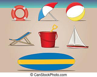 A day at the beach - Various vector beach items