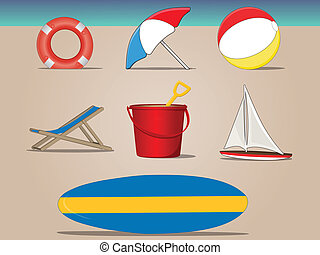 A day at the beach - Various vector beach items