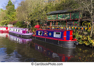 Living on a Barge on the canal in autumn Hebden Bridge England UK