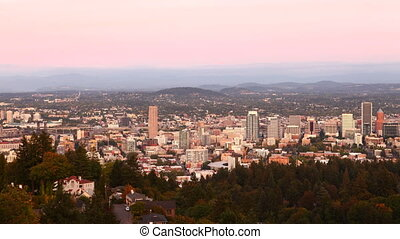 Day to night timelapse of the Portland, Oregon skyline - A...