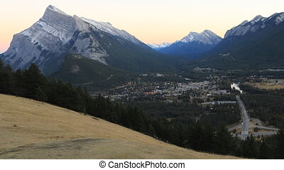 Day to night timelapse over Banff, Canada