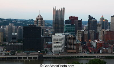Day to night timelapse Pittsburgh skyline