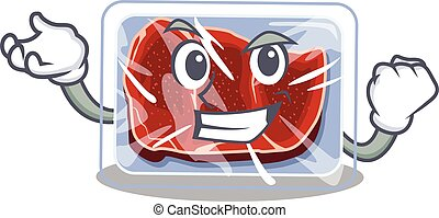 A dazzling frozen beef mascot design concept with happy face