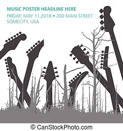 A dead forest of trees and guitar headstocks ideal for music...