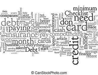 A Debt Checklist text background wordcloud concept