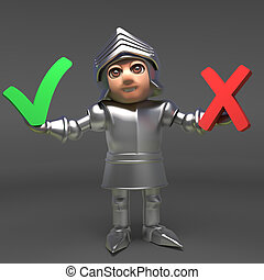 A decision has to made by chivalrous medieval knight in armour, 3d illustration