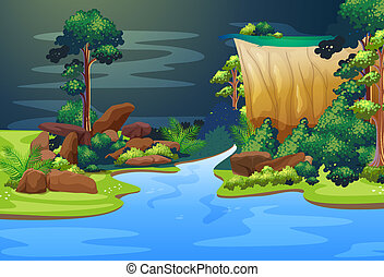 Illustration of a deep blue river in the forest