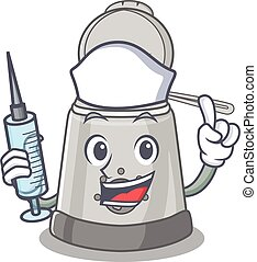 A deep fryer hospitable Nurse character with a syringe
