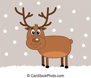 a deer of christmas on a snowy back
