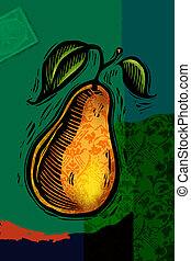 a, dekorativ, päron, collage