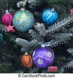 a, dekorerat, julgran, utanför