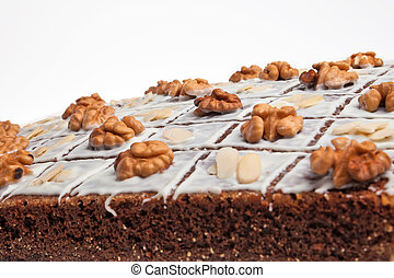 A delicious christmas cake with nuts.