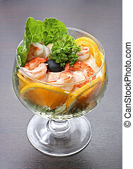 cocktail with prawns - A delicious cocktail with prawns with...