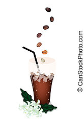A Delicious Iced Coffee with Beans and Flower