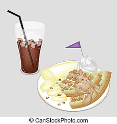 A Delicious Iced Coffee with Tradition Waffle
