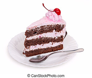 A delicious piece of chocolate cake with cherry cream and ...