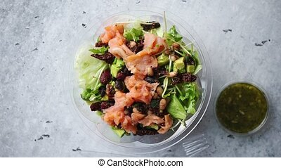 A delicious smoked salmon take away salad with smoked...