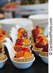 Variety mixed berry tart dessert