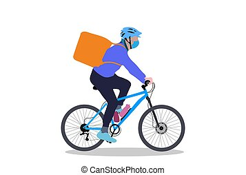 A delivery boy on cycle with backpack simple design on white background