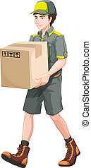 A delivery man with a big box