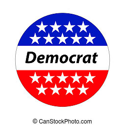 A Democrat button, sign for 2016
