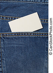 A denium blue jean pocket witn business card