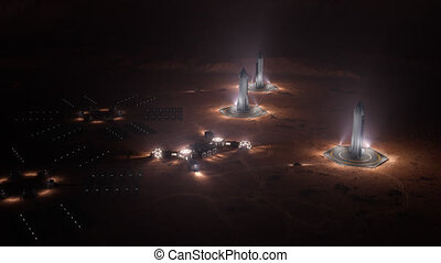 A depiction of a base on a hostile and barren planet. The ...