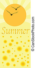 A depiction of Summer with a bright yellow and floating abstract balls