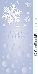 A depiction of Winter with snowflakes
