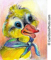 a, desenhado, duckling