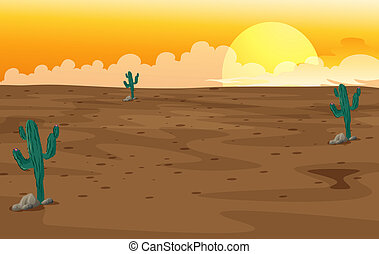 A desert - Illustration of a desert with cactus plants