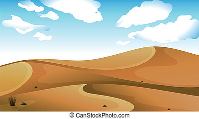 A desert - Illustration of a desert with a clear blue sky