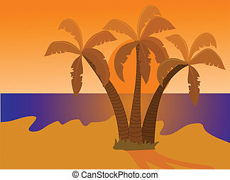 A desert island at sunset illustration
