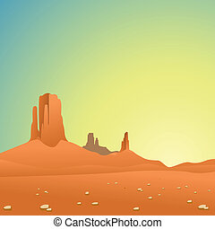 A Desert Landscape with Mountains and Blue Sky