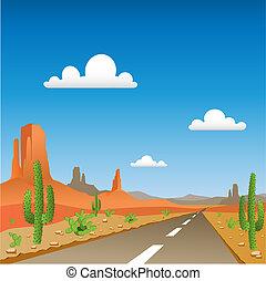 Desert Landscape - A Desert Landscape with Road
