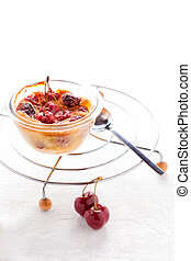 A desert of Clafoutis with cherry on a white background